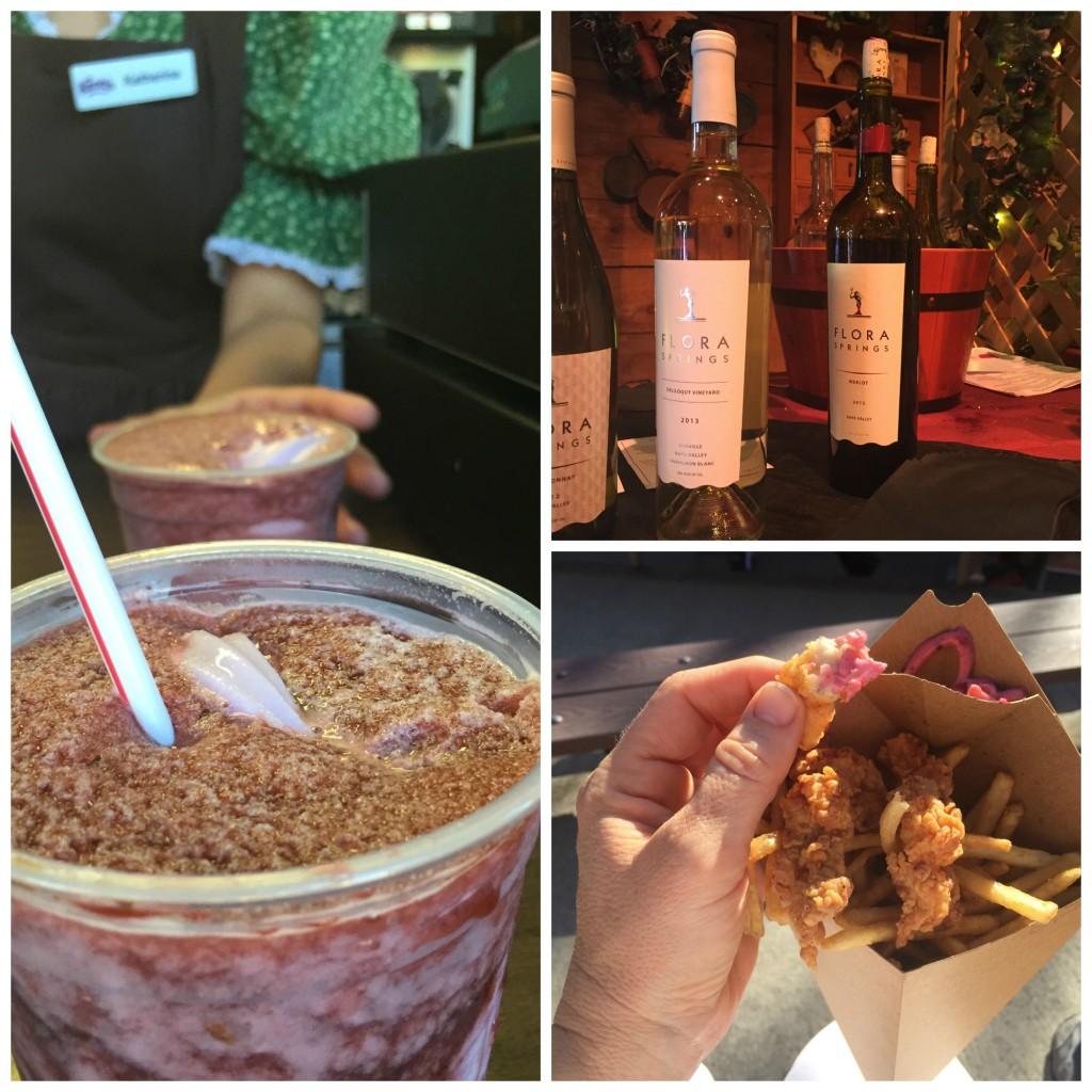 Float de zarzamora, cata de vinos y caimán con salsa de zarzamora. Fotos: Sermamalatina
